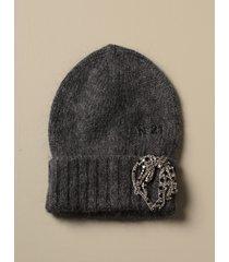 n° 21 hat n ° 21 wool hat with jewel brooch