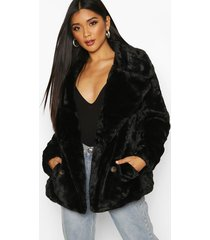 double breasted faux fur coat, black