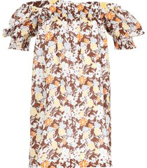 tory burch cotton dress with floral pattern