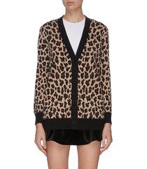 contrast hem leopard print cardigan