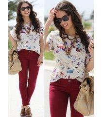ts40 celeb style vintage animal bird print loose fit chiffon blouse shirt top
