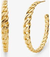 mk orecchini a cerchio con maglie a catena in argento sterling placcato oro 14k - oro (oro) - michael kors