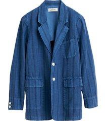 jacket in cotton linen stripe in indigo stripes