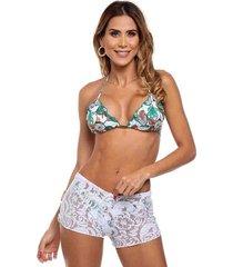 shorts de praia em renda maré brasil branco