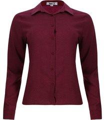 camisa mini puntos color vino, talla l