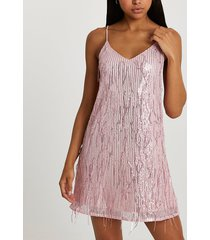 river island womens pink sequin tassel slip dress