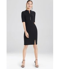 compact knit zipper front dress, women's, black, size 14, josie natori