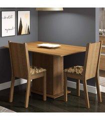 conjunto sala de jantar madesa mel mesa tampo de madeira com 2 cadeiras marrom