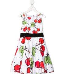 monnalisa cherry print dress - white