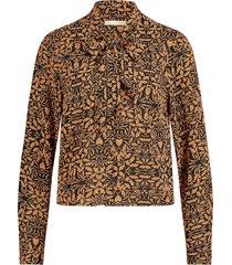 blouse met bladeren print gemma  oranje