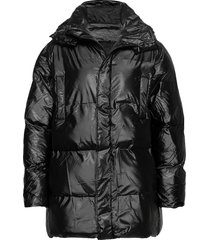 puffer hooded coat gevoerd jack zwart rains