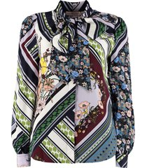 tory burch bow printed blouse with wrinkles