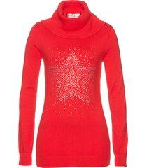 pullover a collo alto con stella di strass (rosso) - bpc selection