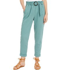 bcx juniors' linen belted paperbag-waist pants