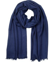 forzieri designer men's scarves, midnight blue pashmina and silk shawl w/short fringes