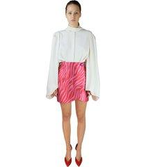 sara battaglia pink + red jacquard zebra skirt
