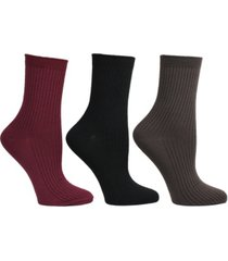 steve madden women's 3 pack super soft ribbed crew socks, online only