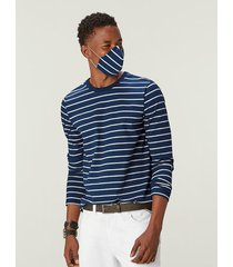 camiseta listrada viroblock® masculina malwee azul claro - xgg