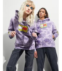 tommy hilfiger women's tommy jeans x spongebob squarepants hoodie tie dye / purple quartz - xs