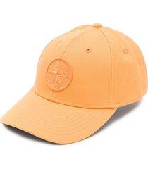 stone island logo patch baseball cap - orange