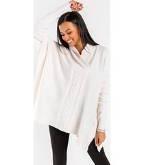 ariah v-neck cable poncho - taupe