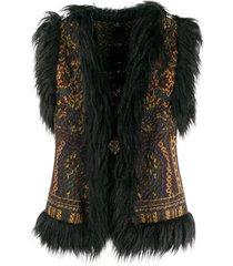 etro faux fur-trimmed knit vest - black