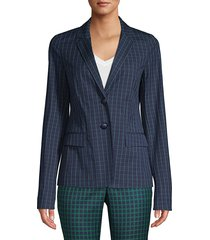 lafayette 148 new york women's thatcher cotton hatch-pattern blazer - elm green - size 16