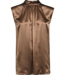 max mara buttoned neck sleeve top