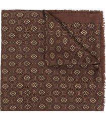 saint laurent large vintage-motif shawl - brown