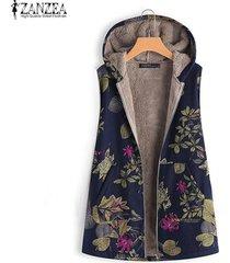 zanzea mujeres más el tamaño de la capa del chaleco caliente escudo cardigan puente polar vintage retro -azul