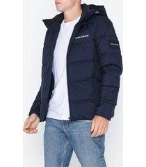 calvin klein jeans hooded down puffer jacket jackor mörk blå