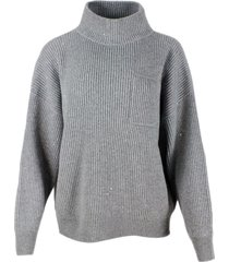 brunello cucinelli mock neck sweater with english rib embellished with lurex and micro sequins