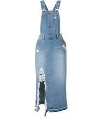 sjyp distressed overall denim dress - blue
