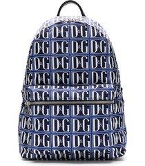 dolce & gabbana all-over dg printed backpack - blue