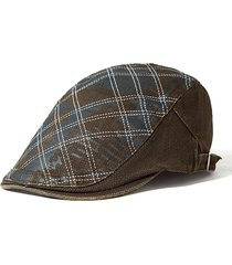 berretto in cotone a quadri e stampato regolabile e antivento cappello casual da sole