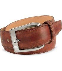 pakerson designer men's belts, men's brown hand painted italian leather belt