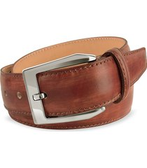 pakerson designer men's belts, men's brown hand painted italian leather belt