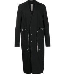 rick owens longline poplin coat - black