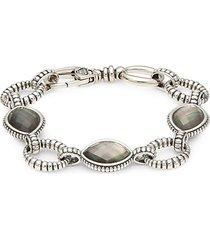sterling silver, crystal & mother-of-pearl oval link bracelet