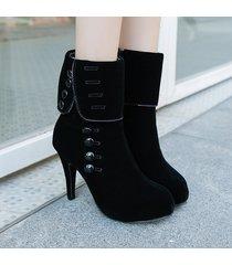 botas de invierno de hebilla de plataforma de mujer zapatos negros