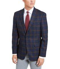 tommy hilfiger men's modern-fit stretch navy/burgundy plaid sport coat