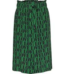 prt love silk tie sk knälång kjol grön calvin klein