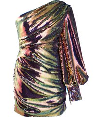 alex perry sequin one shoulder dress - pink