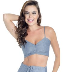 top lado basic cropped azul