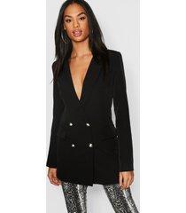 tall button detail tailored blazer, black