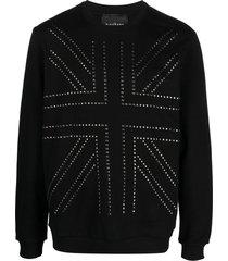 john richmond studded cotton sweatshirt - black