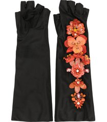 biyan flower-embellished long satin fingerless gloves - black