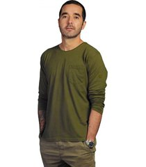 camiseta verde militar luck & load cuello redondo manga larga con bolsillo