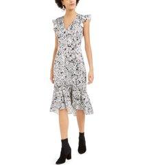 bar iii satin splatter-print midi dress, created for macy's