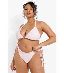 plus badstoffen bikini broekje met zijstrikjes, pastel pink